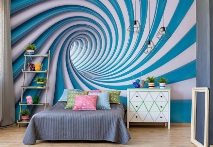 Wall mural wallpaper Abstract Swirl blue & White
